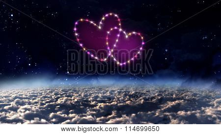 Outer Space Pink Heart Star