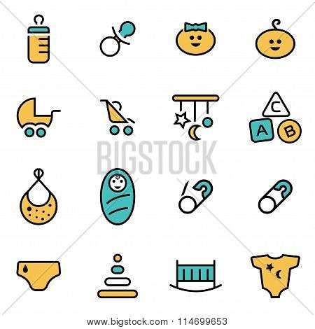Trendy Flat Line Icon Pack For Designers And Developers. Vector Line Baby Icon Set