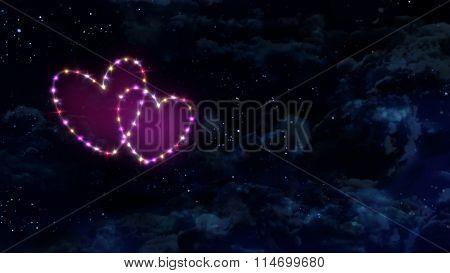 Pink Hearts Star Night Sky