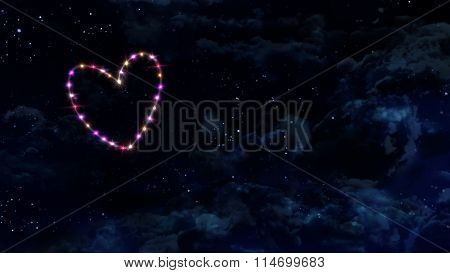 Single Heart Star With Night Sky