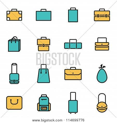 Trendy Flat Line Icon Pack For Designers And Developers. Vector Line Bag Icon Set