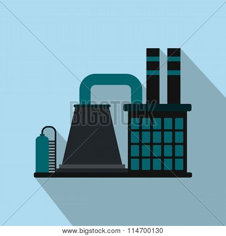 Mining processing plant flat icon