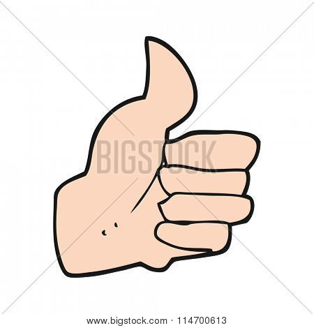 freehand drawn cartoon thumbs up symbol
