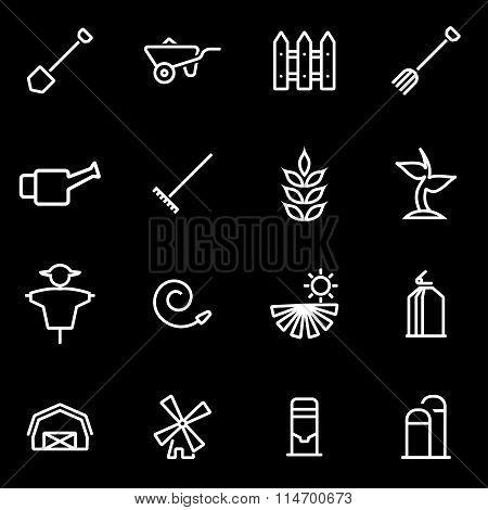 Vector Line Farming Icon Set