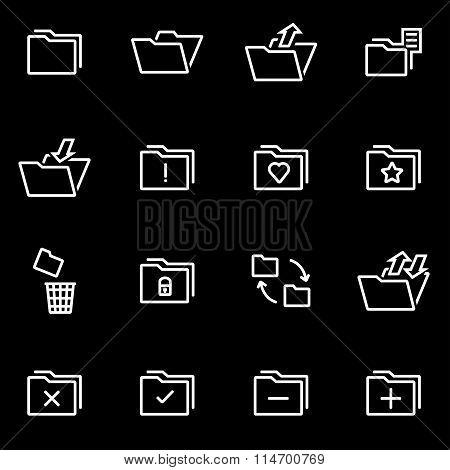 Vector Line Folder Icon Set