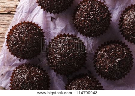 Brazil Truffle Close Up On The Table. Horizontal Top View