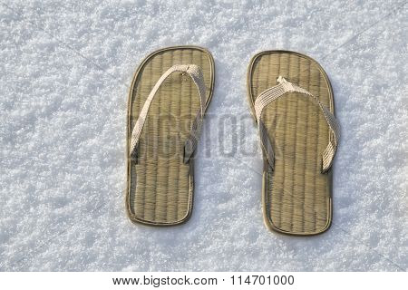 Summer Flip Flop Sandals On The White Snow