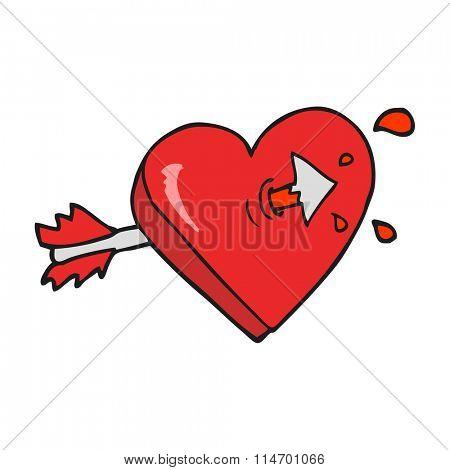 freehand drawn cartoon arrow through heart freehand drawn cartoon