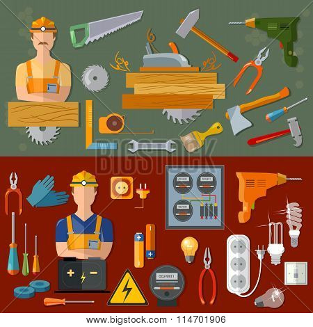 Professional Carpenter And Professional Electrician Professions Banners