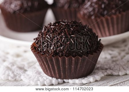 Delicious Chocolate Candy Brigadeiro Macro. Horizontal