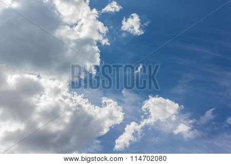Light Blue Sky With Big Clouds And Fresh Mood