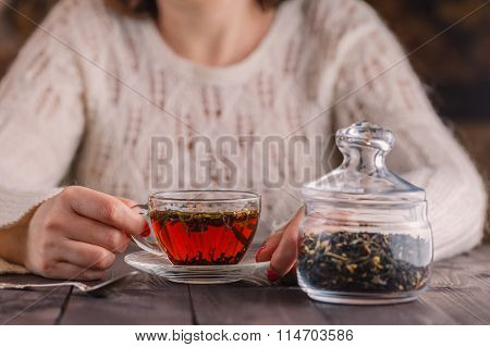 Female Hands Holding Cup With Hot Herbal Tea