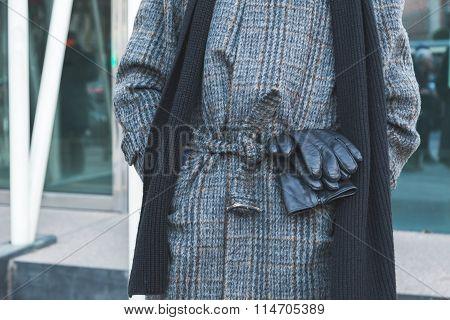 Detail Of Coat Outside Jil Sander Fashion Show Building For Milan Men's Fashion Week 2016