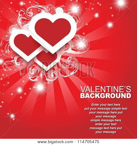 Valentine's Day Background Heart And Stasrs Template Card