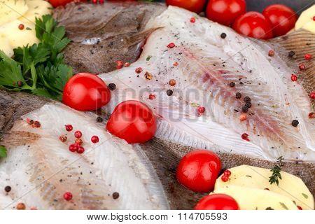 Raw Turbot Fish Seasoned