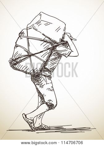 Nepali man carries a bag on his head in the traditional way. Hand drawn sketch