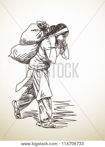 Nepali woman carries a bag on her head in the traditional way. Hand drawn sketch
