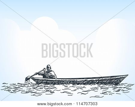 Sketch of man on rowing boat, Hand drawn illustration