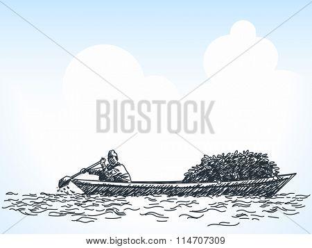 Sketch of man transporting veggies on rowing boat, Hand drawn illustration