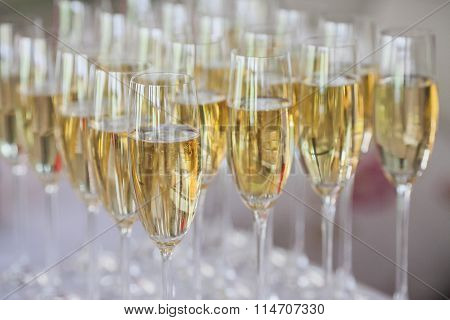 Glasses Of Champagne On The Table