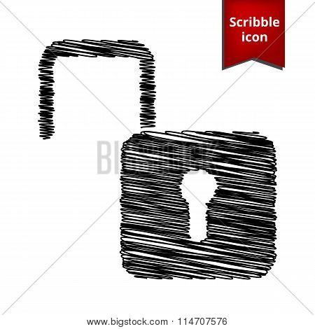 Unlock icon. cribble icon for you design.