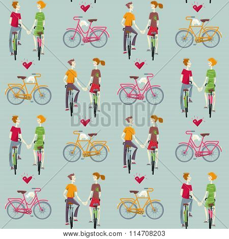 Young Couple In Love, Riding Bikes. Happy Valentine's Day. Seamless Background Pattern.