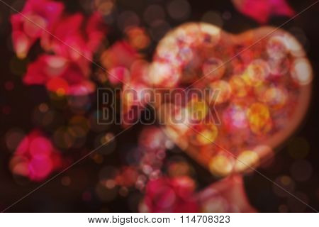 Bokeh Soft Light Heart, Abstract Sweet Night Of Love Romantic  Valentine Background
