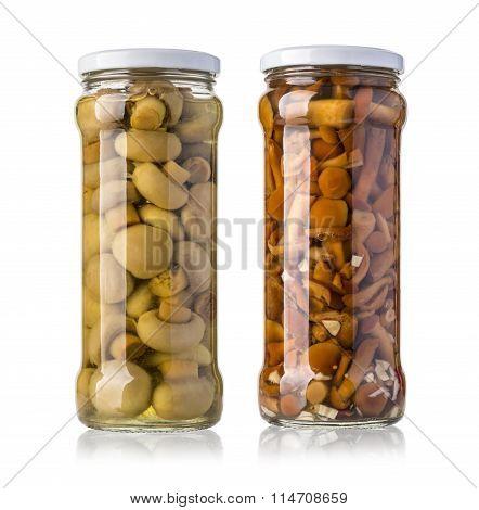 Mushrooms In Glass Jars