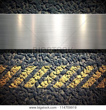 Background with metallic banner over asphalt vector texture