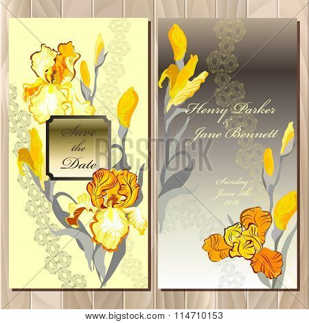Wedding card with yellow iris flower bouquet background.