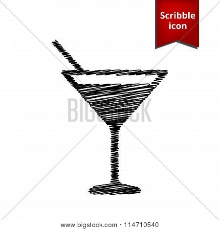 Coctail icon with pen effect