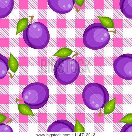 Tartan plaid with plums seamless pattern.