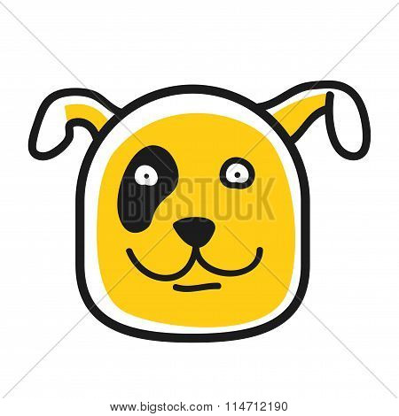 Cartoon animal head icon. Dog face avatar for profile of social networks. Hand drawn design