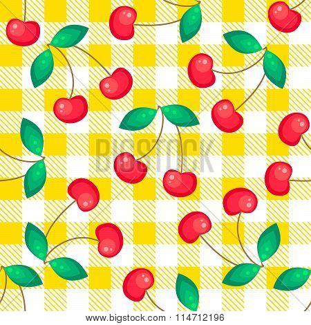 Tartan plaid with cherries seamless pattern.