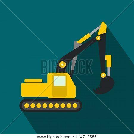 Yellow excavator flat icon