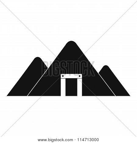 Mountain mine black simple icon