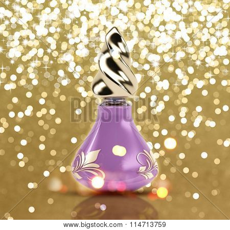 3D perfume bottle on a glittery gold background