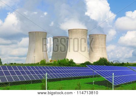 Nuclear power plant Dukovany with solar panels in Czech Republic Europe