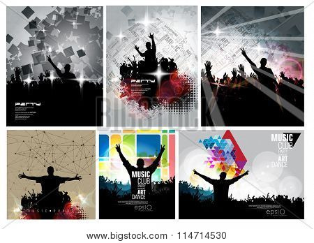 Six vector illustration of party