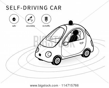Self-driving car line icon