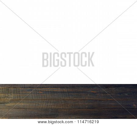 dark wooden boards on the bottom of white background