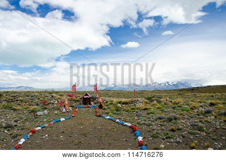 Roadside memorial in the Southern Patagonian pampa