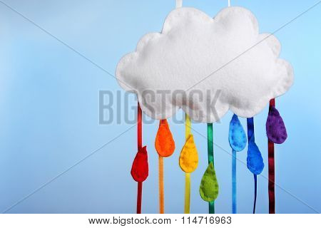 Fleeced clouds on blue background