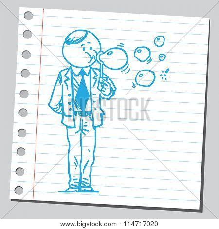 Businessman blowing soap bubbles