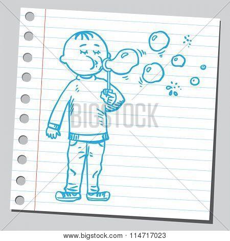 Kid blowing soap bubbles