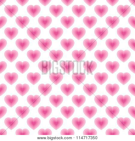 Seamless Pattern With Pink Hearts