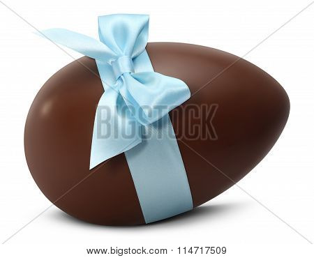 Chocolate Easter Egg With Blue Ribbon Bow Isolated On White Background