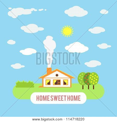 Village cozy cottage with trees isolated on blue sky background