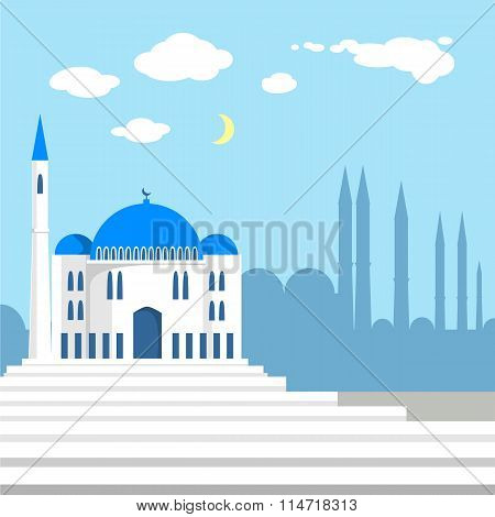 Mosque on the background of islamic city silhouettes.
