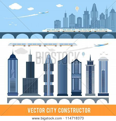 Elements for construction city in vector